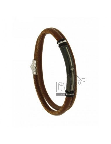 BROWN LEATHER BRACELET 5 MM DOUBLE TOUR WITH STEEL PLATE WITH PLATED RUTENIO ROSA DEI VENTI