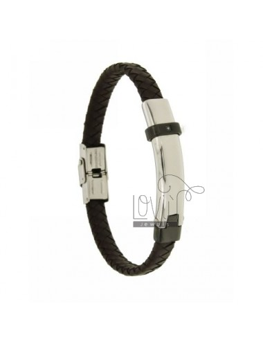 WOVEN LEATHER BRACELET 8 MM WITH STEEL PLATE ELEMENT WITH PLATED ZIRCON AND RUTENIO