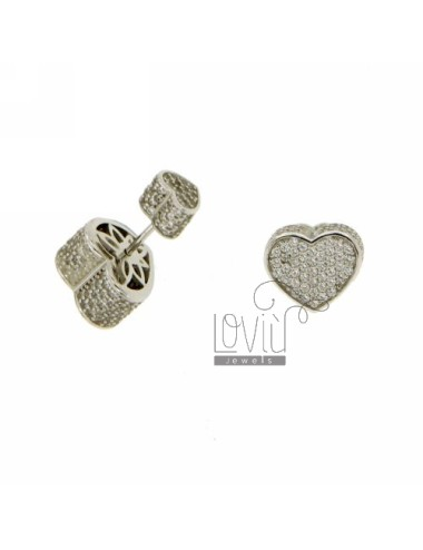 PIERCING EARRINGS WITH PAVE HEART &39OF ZIRCONIA IN AG TIT RHODIUM 925 ‰