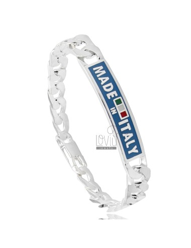 Curb PLATE WITH BRACELET 9 MM &quotMADE IN ITALY&quot IN TIT AG 925 22 CM WITH ENAMEL BLUE BACKGROUND