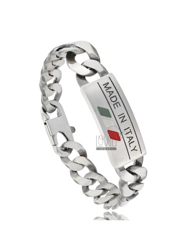 Curb BRACELET WITH 14 MM PLATE &quotMADE IN ITALY&quot IN AG BRUNITO TIT 925 CM 22