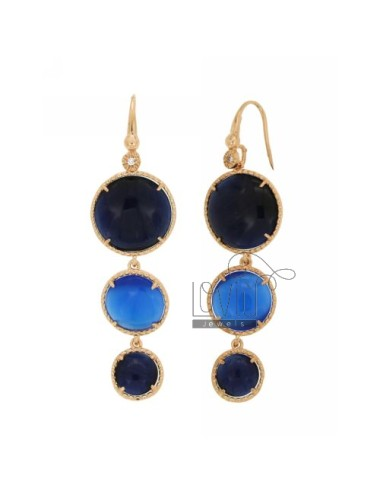 EARRINGS MONACHELLA LOVE WITH ROUND ZIRCONE DEGRADE STONE HYDROTHERMAL BLUE AND COBALT BLUE PEARL PEARL 60P 65P IN ROSE GOLD PLA