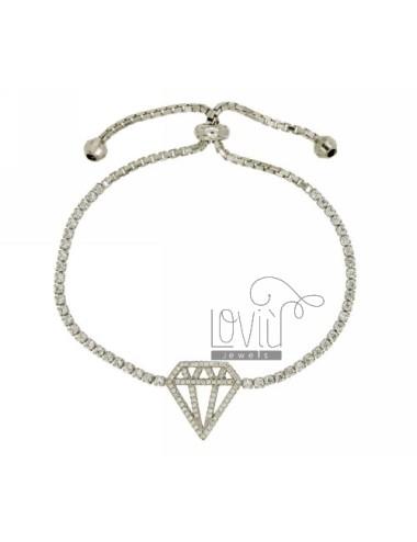 DIAMOND TENNIS BRACELET WITH SWAROVSKI AND LOOP CLOSURE IN RHODIUM TIT AG 925