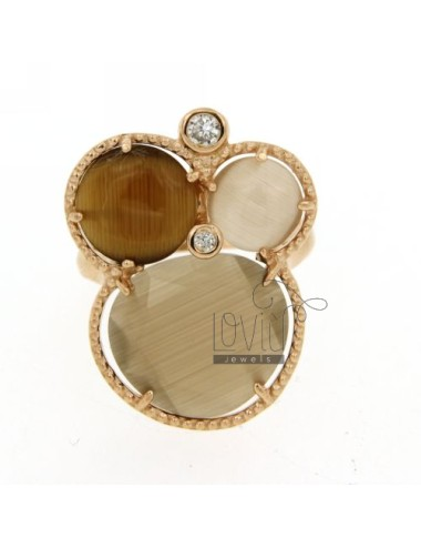3 ROUND RING WITH BROWN...