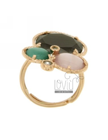 3 RING ROUND WITH STONES HYDROTHERMAL GRAY, GREEN AND LILAC PEARL AND ROSE GOLD PLATED ZIRCONIA IN AG TIT 925 ‰ SIZE ADJUSTABLE