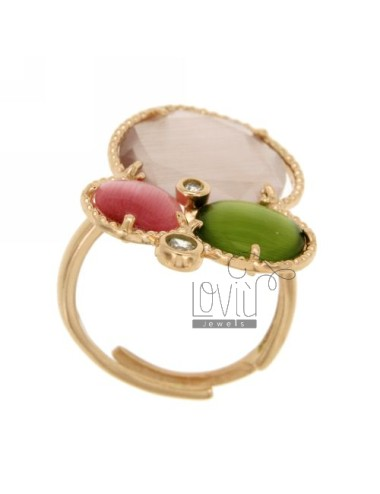 3 RING ROUND WITH STONES HYDROTHERMAL LILAC, GREEN AND PINK PEARL PERIDOTT ZIRCONIA IN AG TIT PLATED ROSE GOLD 925 ‰ SIZE ADJUST