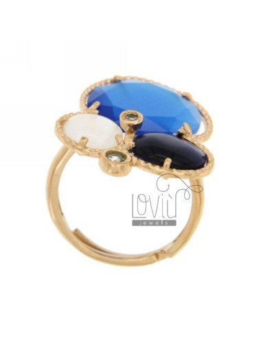 3 RING ROUND WITH STONES HYDROTHERMAL COBALT BLUE, WHITE AND BLUE PEARL AND ROSE GOLD PLATED ZIRCONIA IN AG TIT 925 ‰ SIZE ADJUS