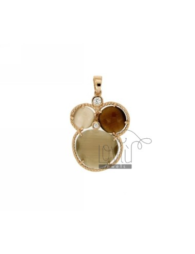 3 ROUND PENDANT WITH BROWN...