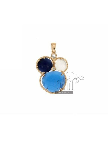 3 ROUND PENDANT WITH STONES HYDROTHERMAL COBALT BLUE, WHITE AND BLUE PEARL AND ROSE GOLD PLATED ZIRCONIA IN AG TIT 925 ‰