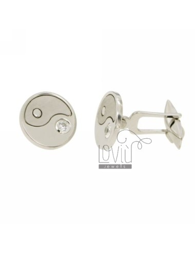 CUFFLINKS MM ROUND 16 TAO IN AG TIT 925 ‰ RHODIUM WITH ZIRCON
