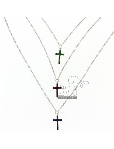NECKLACE WITH CABLE 3 WIRES DEGRADE CROSSES WITH ZIRCONIA BLUE GREEN AND RED IN AG TIT RHODIUM 925 ‰ CM 45