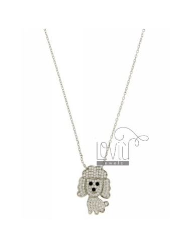 NECKLACE WITH CABLE POODLE DOG WITH ZIRCONIA IN AG TIT RHODIUM 925 ‰ CM 45