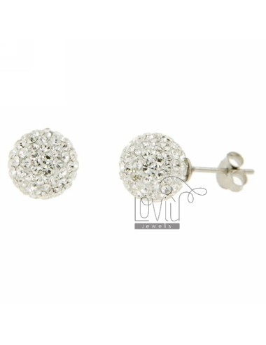 SPHERE EARRINGS 12 MM WITH PAVE 'OF STRASS IN RHODIUM SILVER 925 ‰