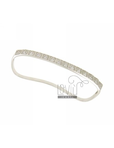 BRACELET WITH PALM STUDDED PAVE &39OF ZIRCONIA IN AG TIT RHODIUM 925 ‰