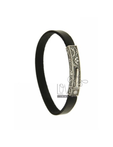 BRACELET IN BLACK LEATHER WITH PLATE AND SYMBOLS MARINARI CLOSING IN AG TIT BRUNITO 925 ‰