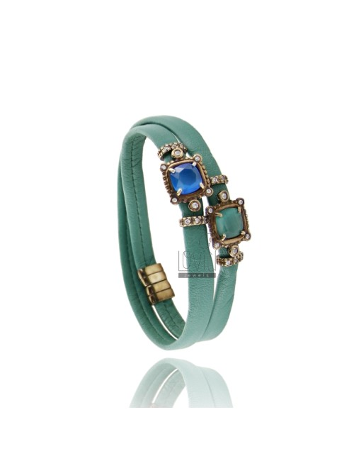 BRACELET LEATHER DOUBLE ROUND GREEN, WITH STONES HYDROTHERMAL CENTRAL SQUARE, ZIRCONIA AND MAGNETIC CLOSURE IN OLD ROSE GOLD PLA