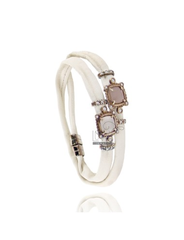 BRACELET IVORY LEATHER DOUBLE ROUND, CENTRAL SQUARE WITH STONES HYDROTHERMAL, ZIRCONIA AND MAGNETIC CLOSURE IN OLD ROSE GOLD PLA