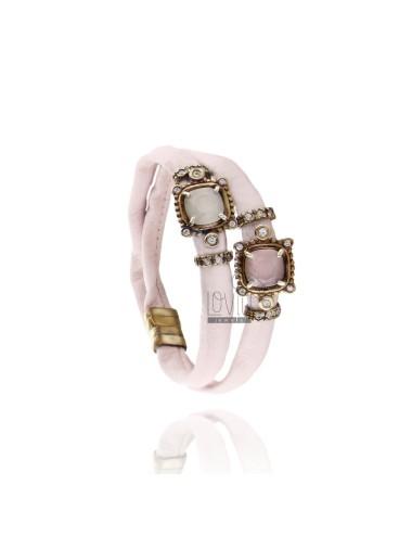 DOUBLE Armband um LEDER PINK, zentralen Platz mit STONES HYDROTERMALE, Zirkonoxid und Magnetverschluss IM ALTEN Rose Gold überzo