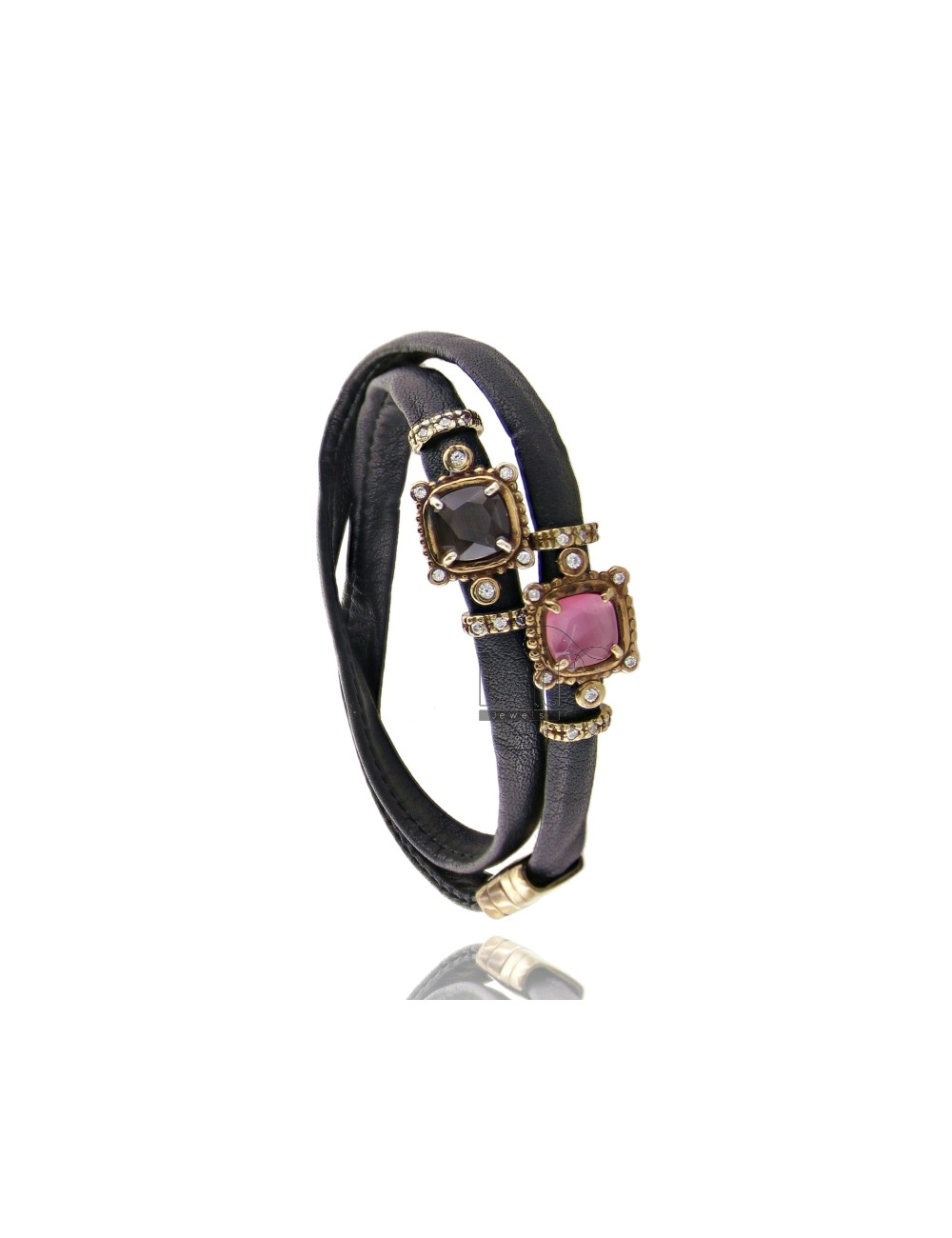 BRACELET DOUBLE ROUND BLACK LEATHER, WITH STONES HYDROTHERMAL CENTRAL SQUARE, ZIRCONIA AND MAGNETIC CLOSURE IN OLD ROSE GOLD PLA
