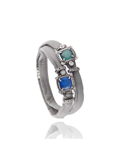 BRACELET DOUBLE TURN GREY LEATHER, WITH STONES HYDROTHERMAL CENTRAL SQUARE, ZIRCONIA AND MAGNETIC CLOSURE IN ANCIENT AG RODIO TI