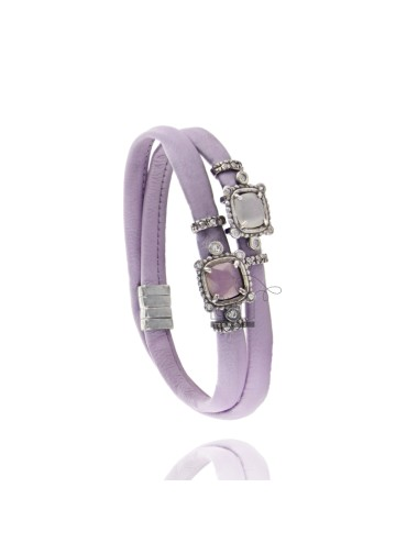 BRACELET DOUBLE ROUND LEATHER LILAC, CENTRAL SQUARE WITH STONES HYDROTHERMAL, ZIRCONIA AND MAGNETIC CLOSURE IN ANCIENT AG RODIO