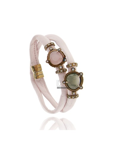 DOUBLE BRACELET AROUND LEATHER PINK, CENTRAL WITH STONES HYDROTHERMAL SASSO, ZIRCONIA AND MAGNETIC CLOSURE IN OLD ROSE GOLD PLAT