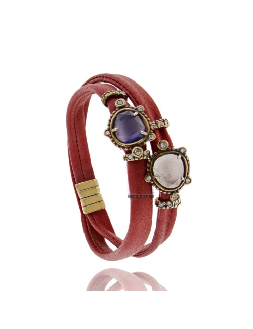 BRACELET DOUBLE TURN RED LEATHER, CENTRAL WITH STONES HYDROTHERMAL SASSO, ZIRCONIA AND MAGNETIC CLOSURE IN OLD ROSE GOLD PLATED