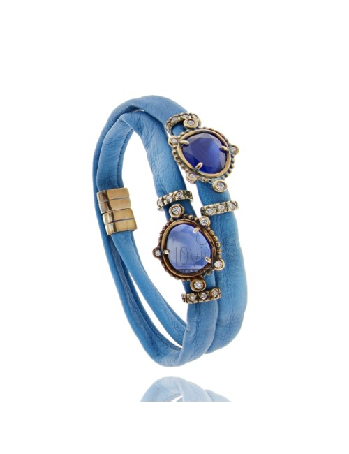 DOUBLE BRACELET AROUND LEATHER ELECTRIC BLUE, CENTRAL WITH STONES HYDROTHERMAL SASSO, ZIRCONIA AND MAGNETIC CLOSURE IN OLD ROSE