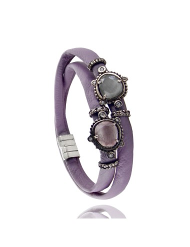 BRACELET DOUBLE ROUND LEATHER LILAC, CENTRAL WITH STONES HYDROTHERMAL SASSO, ZIRCONIA AND MAGNETIC CLOSURE IN ANCIENT AG RODIO T