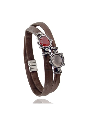 BRACELET DOUBLE ROUND BROWN LEATHER, CENTRAL WITH STONES HYDROTHERMAL SASSO, ZIRCONIA AND MAGNETIC CLOSURE IN ANCIENT AG RODIO T