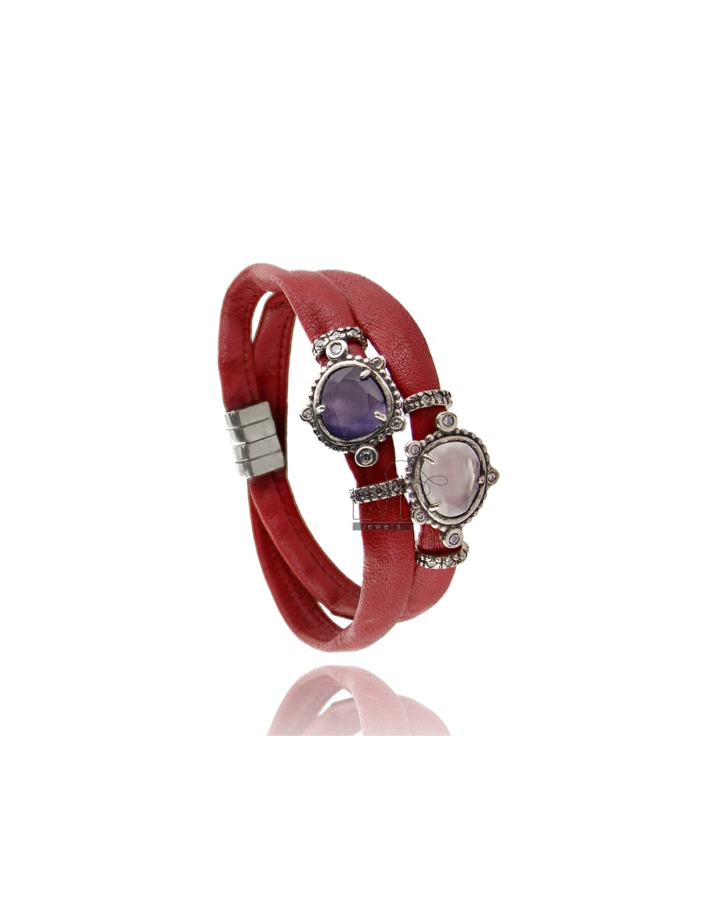 BRACELET DOUBLE TURN RED LEATHER, CENTRAL WITH STONES HYDROTHERMAL SASSO, ZIRCONIA AND MAGNETIC CLOSURE IN ANCIENT AG RODIO TIT