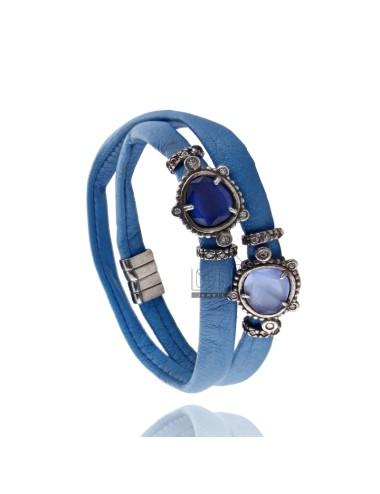 DOUBLE Armband um LEDER ELECTRIC BLUE, ZENTRALE MIT STEINEN HYDROTERMALE SASSO, Zirkonoxid und Magnetverschluss IM ALTEN AG RODI