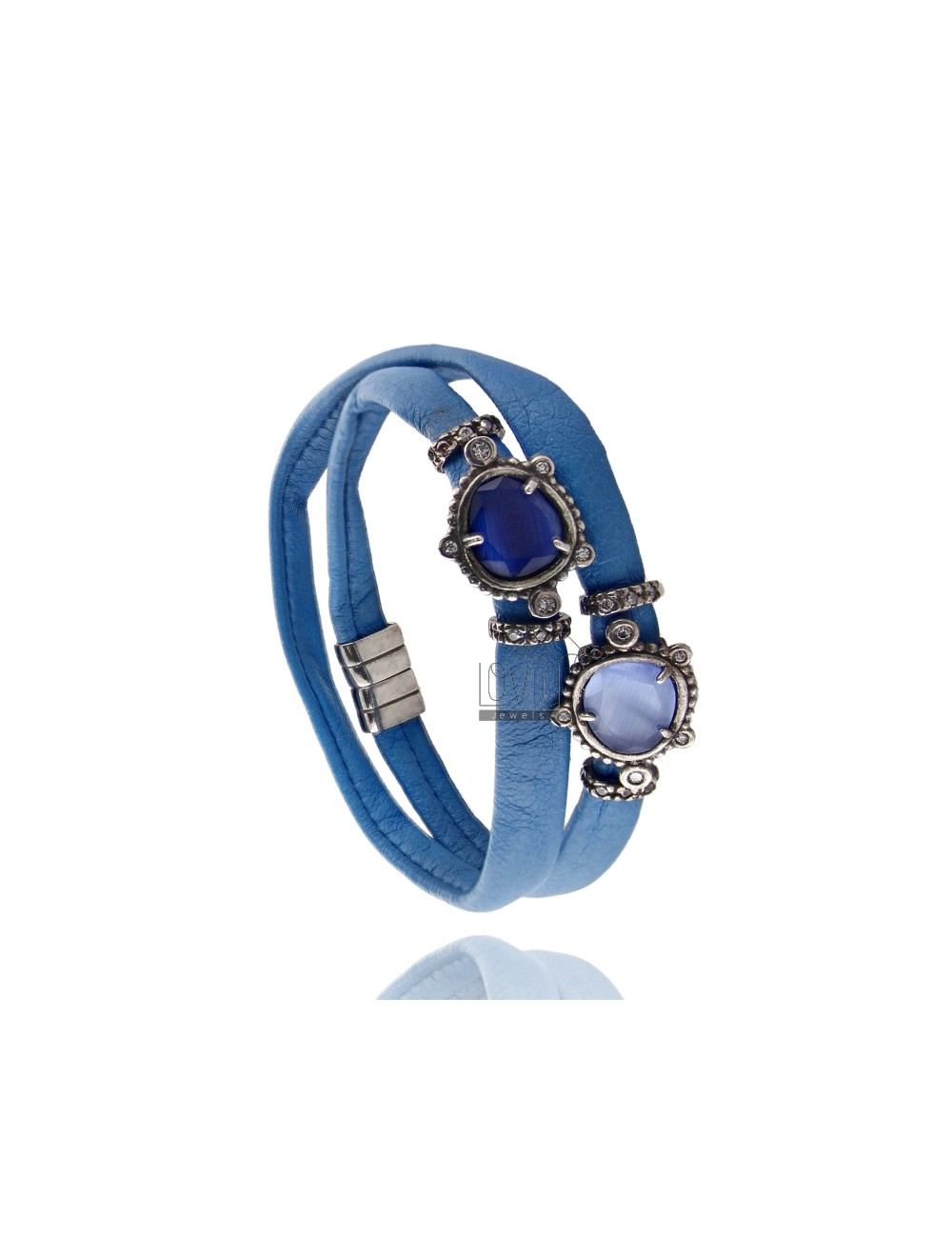 DOUBLE BRACELET AROUND LEATHER ELECTRIC BLUE, CENTRAL WITH STONES HYDROTHERMAL SASSO, ZIRCONIA AND MAGNETIC CLOSURE IN ANCIENT A