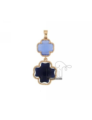 DOUBLE CROSS PENDANT PAPER SUGAR AND BLUE PEARL PEARL 28P 60P IN AG TIT PLATED ROSE GOLD 925 ‰