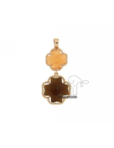 DOUBLE CROSS PENDANT PEARL ORANGE AND BROWN PEARL 6P 68P IN AG TIT PLATED ROSE GOLD 925 ‰