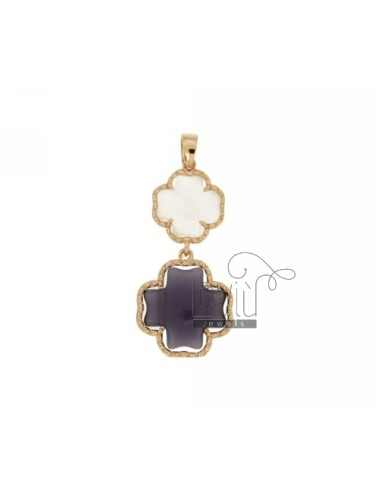 DOUBLE CROSS PENDANT PEARL WHITE AND PURPLE PEARL 8P 13P IN AG TIT PLATED ROSE GOLD 925 ‰