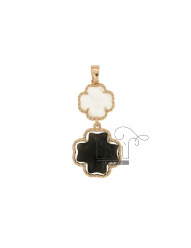 DOUBLE CROSS PENDANT PEARL WHITE AND BLACK PEARL 7P 8P IN AG TIT PLATED ROSE GOLD 925 ‰