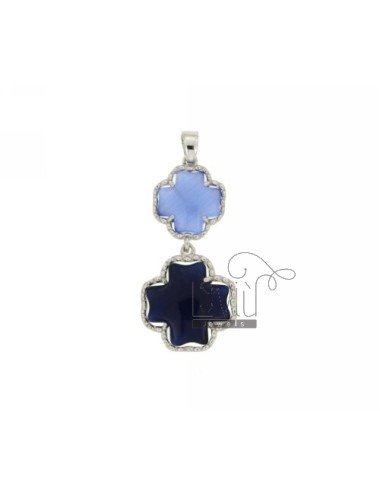 DOUBLE CROSS PENDANT PAPER SUGAR AND BLUE PEARL PEARL 28P 60P IN AG TIT RHODIUM 925 ‰