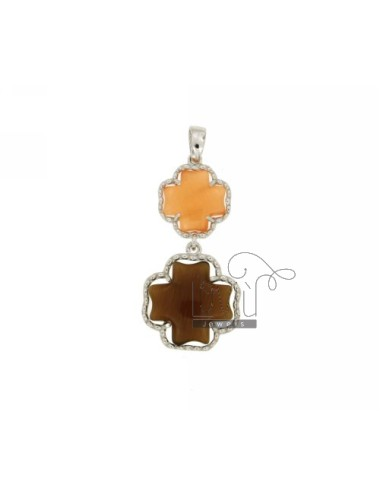DOUBLE CROSS PENDANT PEARL ORANGE AND BROWN PEARL 6P 68P IN AG TIT RHODIUM 925 ‰