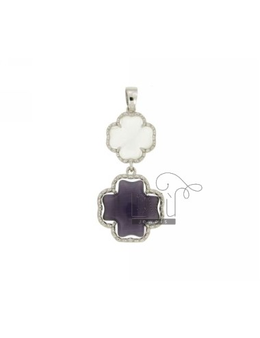 DOUBLE CROSS PENDANT PEARL WHITE AND PURPLE PEARL 8P 13P IN AG TIT RHODIUM 925 ‰