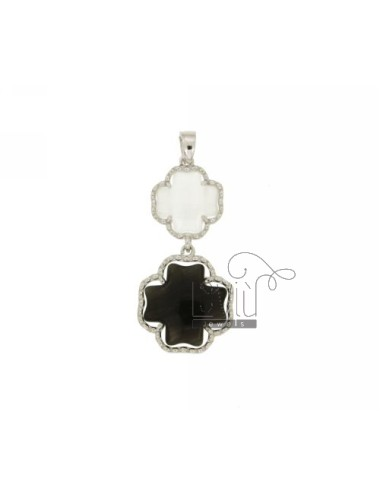 DOUBLE CROSS PENDANT PEARL WHITE AND BLACK PEARL 7P 8P IN AG TIT RHODIUM 925 ‰
