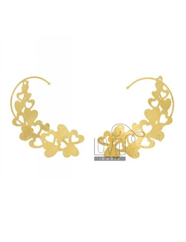 EARRINGS HEADSET A HEARTS IN PERFORATED AG GOLD PLATED TIT 925 ‰