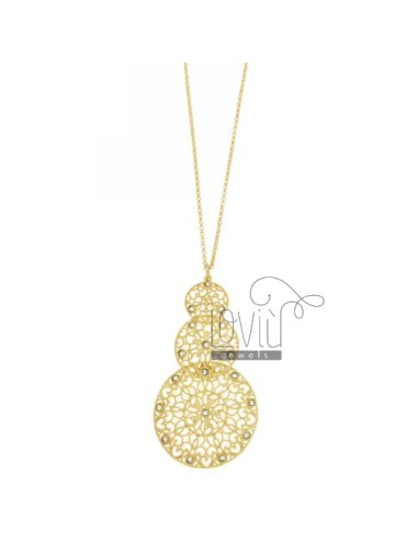 ROLO CHAIN &8203&8203&39CM 80 PENDANT ROUND DEGRADE AG IN GOLD PLATED TIT 925 ‰ E STRASS
