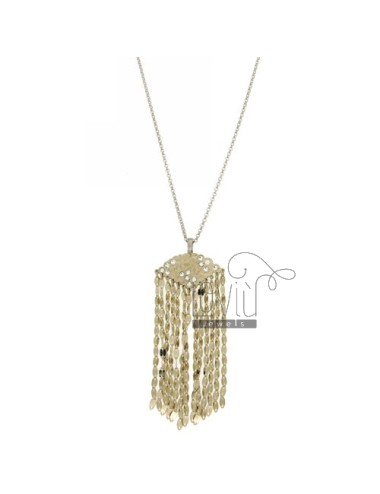 ROLO CHAIN &8203&820350 CM WITH CHARM WITH CRYSTAL AND CHAINS IN GOLD AND RHODIUM PLATED AG TIT 925 ‰