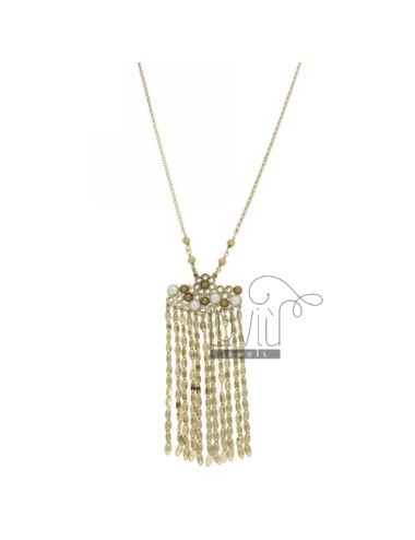 ROLO CHAIN &8203&8203&39CM 50 WITH CHARM WITH CHAINS, CRYSTAL AND PEARLS IN AG RHODIUM AND GOLD PLATED TIT 925 ‰