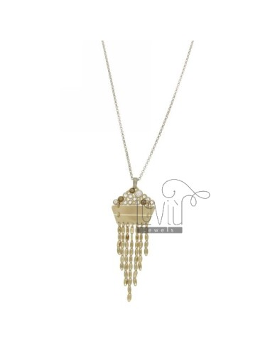 ROLO CHAIN &8203&8203&39PENDANT WITH CHAINS, CRYSTAL AND PEARLS IN AG RHODIUM AND GOLD PLATED TIT 925 ‰