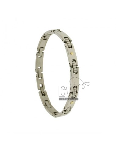 Pivoted BRACELET WITH STEEL INSERTS IN Bilamina BRASS AND GOLD