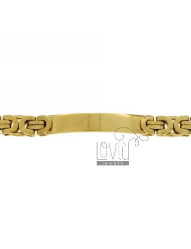 BRACELET STEEL PLATE WITH GOLD PLATED SNAKE JERSEY SNODATA TYPE MM 8