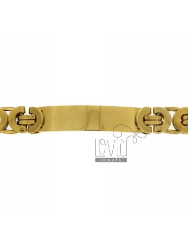 BRACELET STEEL PLATE WITH GOLD PLATED SNAKE JERSEY SNODATA TYPE MM 12