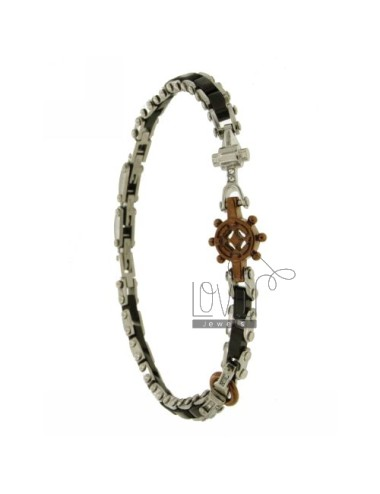 Acora STEEL BRACELET WITH ELEMENTS AND CHOCOLATE AND ROLLED RUTENIO ZIRCONS